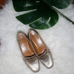 Joan & David Gold Leather Loafers